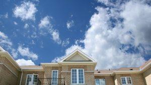 Blue sky above a house